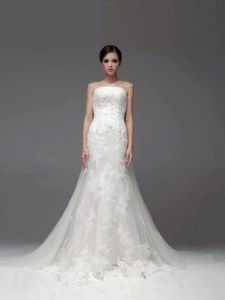 Charming White Strapless Zipper Lace Bridal Gown Brush Train Sleeveless