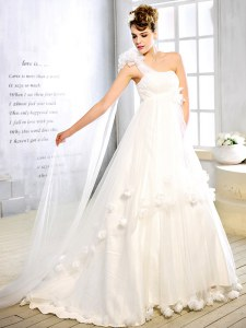 High Class One Shoulder White Sleeveless With Train Sashes ribbons and Hand Made Flower Lace Up Bridal Gown