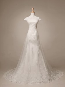 Classical With Train White Wedding Dress Tulle Brush Train Cap Sleeves Beading and Lace and Appliques