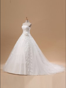 Fantastic Sleeveless Court Train Lace Up With Train Lace and Appliques and Hand Made Flower Wedding Gown