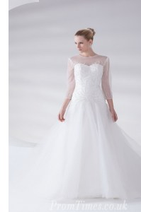Best Scoop 3 4 Length Sleeve Brush Train Appliques Zipper Wedding Gowns