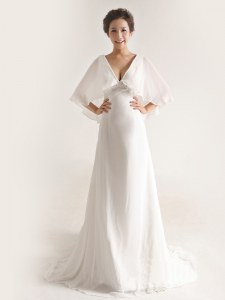White Half Sleeves Chiffon Brush Train Zipper Wedding Dresses for Wedding Party