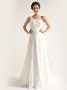 White Empire One Shoulder Sleeveless Chiffon With Brush Train Zipper Beading and Ruching Wedding Dresses