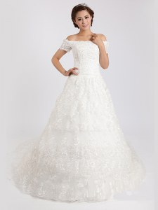 White Off The Shoulder Lace Up Lace Wedding Gown Court Train Short Sleeves