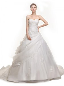 Lovely Sleeveless Brush Train Lace Up With Train Beading and Appliques Bridal Gown