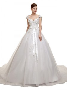 Tulle V-neck Sleeveless Chapel Train Lace Up Appliques and Sashes ribbons Wedding Dress in White