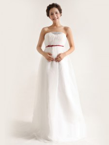 Noble White Chiffon Side Zipper Bridal Gown Sleeveless With Brush Train Beading