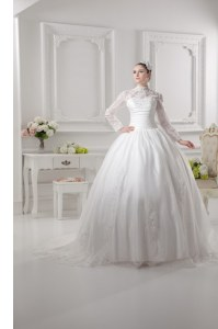 Long Sleeves Lace Zipper Wedding Dresses with White Sweep Train