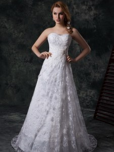 Clearance White Sleeveless Beading and Lace Zipper Wedding Dresses