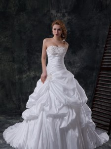 Extravagant Sleeveless Brush Train Zipper With Train Beading and Pick Ups Bridal Gown