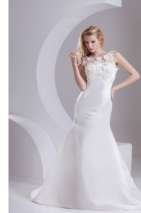 White Taffeta Zipper Scoop Sleeveless Wedding Dress Sweep Train Lace