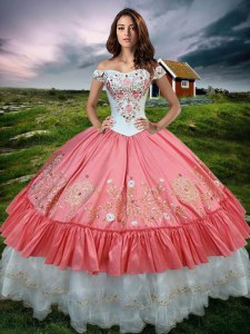 Ruffled Ball Gowns Vestidos de Quinceanera Watermelon Red Off The Shoulder Organza and Taffeta Sleeveless Floor Length Lace Up
