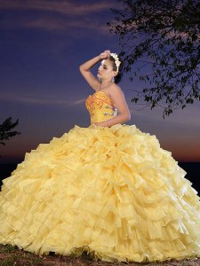 Sweetheart Sleeveless Organza Quinceanera Dress Beading and Ruffled Layers Lace Up