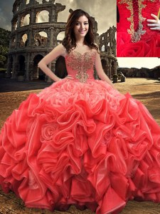 Admirable Red Lace Up Quinceanera Dresses Beading Sleeveless Floor Length