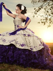 White And Purple Sweetheart Lace Up Embroidery and Ruffles Quinceanera Dress Brush Train Sleeveless