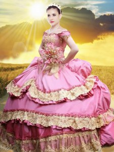 Off The Shoulder Sleeveless Taffeta Sweet 16 Dress Lace and Appliques and Pick Ups Lace Up
