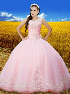 Scoop Baby Pink Lace Up 15 Quinceanera Dress Beading and Lace and Embroidery Sleeveless Floor Length