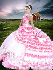 Delicate One Shoulder Ruffled Pink And White Sleeveless Organza and Taffeta Lace Up Quinceanera Gown for Military Ball and Sweet 16 and Quinceanera