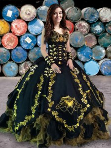 Black Organza and Taffeta Lace Up Sweetheart Sleeveless Floor Length Quinceanera Gown Beading and Embroidery and Ruffles