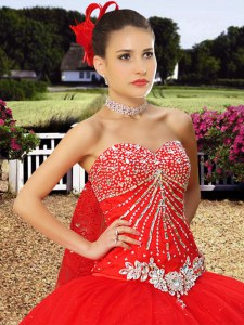 Simple Red 15 Quinceanera Dress Military Ball and Sweet 16 and Quinceanera and For with Beading and Lace Sweetheart Sleeveless Watteau Train Lace Up