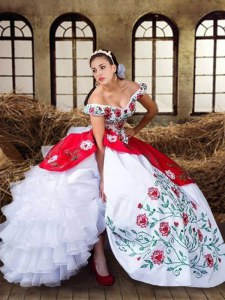 Super Off the Shoulder Ruffled White and Red Cap Sleeves Organza and Taffeta Lace Up Sweet 16 Quinceanera Dress for Military Ball and Sweet 16 and Quinceanera