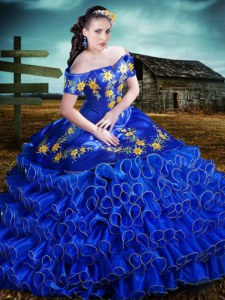 High Quality Ruffled Floor Length Royal Blue 15 Quinceanera Dress Off The Shoulder Short Sleeves Lace Up