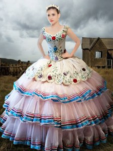 High Quality Straps Floor Length White Quinceanera Gowns Organza Cap Sleeves Embroidery and Ruffled Layers