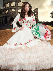 Exceptional Organza and Taffeta Sleeveless Floor Length Sweet 16 Dress and Embroidery and Ruffles