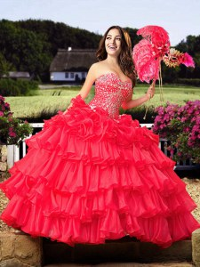 Custom Fit Coral Red Quinceanera Dresses Military Ball and Sweet 16 and Quinceanera and For with Beading and Ruffled Layers Sweetheart Sleeveless Lace Up