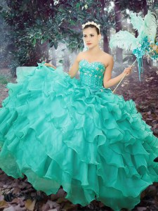 Deluxe Organza Sweetheart Sleeveless Lace Up Beading and Ruffled Layers Vestidos de Quinceanera in Turquoise