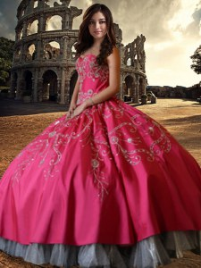Ball Gowns Sweet 16 Dress Hot Pink Sweetheart Taffeta Sleeveless Floor Length Lace Up