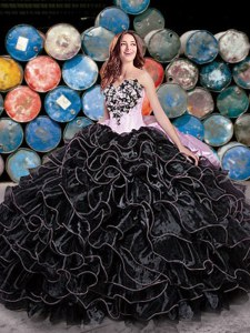 Enchanting Black Organza Lace Up Quinceanera Gown Sleeveless Floor Length Beading and Ruffles and Pick Ups