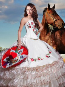 Glittering White Ball Gowns Embroidery and Ruffled Layers Vestidos de Quinceanera Lace Up Organza and Taffeta Sleeveless Floor Length