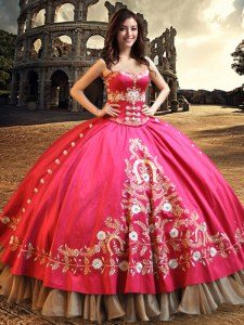 Hot Pink Sweetheart Neckline Beading and Embroidery Quinceanera Gown Sleeveless Lace Up