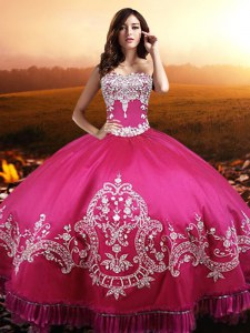 Hot Pink Taffeta Lace Up Quinceanera Gowns Sleeveless Floor Length Beading and Embroidery