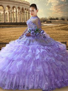 Beading and Embroidery and Ruffled Layers Ball Gown Prom Dress Lavender Lace Up Long Sleeves Floor Length