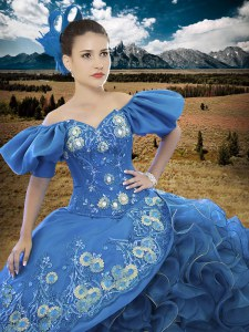 Off The Shoulder Short Sleeves Organza Quince Ball Gowns Appliques and Ruffles Lace Up