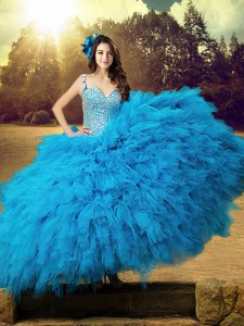 Baby Blue Lace Up Straps Beading and Ruffles Quinceanera Gowns Tulle Sleeveless