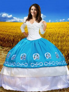 Off the Shoulder Blue And White 3 4 Length Sleeve Taffeta Lace Up Vestidos de Quinceanera for Military Ball and Sweet 16 and Quinceanera