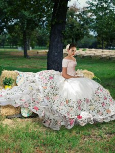 Superior Ruffled Off The Shoulder Short Sleeves Lace Up Quinceanera Dress White Taffeta