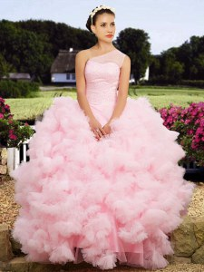 One Shoulder Baby Pink Tulle Lace Up 15 Quinceanera Dress Sleeveless Floor Length Beading