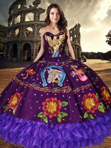 Purple Ball Gowns Sweetheart Sleeveless Organza and Taffeta Floor Length Lace Up Embroidery and Ruffled Layers Sweet 16 Quinceanera Dress