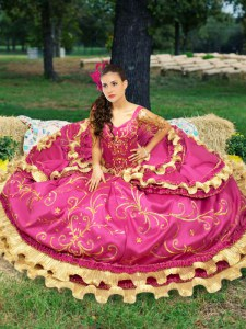 Off the Shoulder Floor Length Lace Up Sweet 16 Dress Fuchsia for Military Ball and Sweet 16 and Quinceanera with Beading and Embroidery