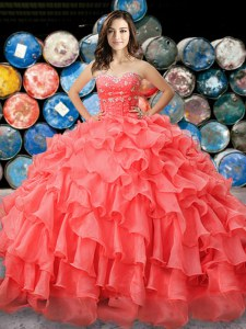 High End Floor Length Lace Up Sweet 16 Dress Coral Red for Military Ball and Sweet 16 and Quinceanera with Beading and Ruffles
