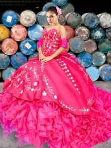 Spectacular Sleeveless With Train Beading and Embroidery and Ruffles Lace Up Vestidos de Quinceanera with Hot Pink Brush Train