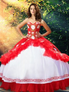 Lovely White And Red Ball Gown Prom Dress Military Ball and Sweet 16 and Quinceanera and For with Embroidery and Ruffles Sweetheart Sleeveless Lace Up