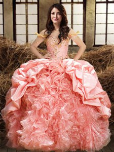 Chic Pink Off The Shoulder Lace Up Beading and Ruffles and Pick Ups Sweet 16 Quinceanera Dress Sleeveless