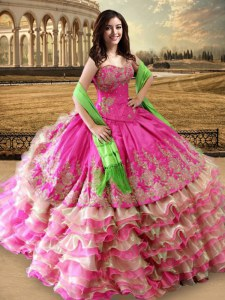 Hot Pink Lace Up Sweetheart Beading and Embroidery and Ruffled Layers Ball Gown Prom Dress Organza and Taffeta Sleeveless