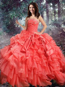 Pretty Sleeveless Organza Floor Length Lace Up Sweet 16 Dresses in Coral Red with Beading and Ruffles