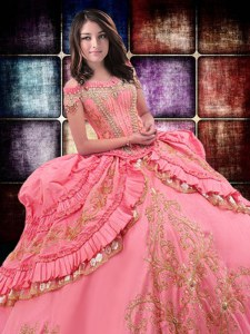 Chic Ruffled Ball Gowns 15th Birthday Dress Watermelon Red Off The Shoulder Taffeta Sleeveless Floor Length Lace Up
